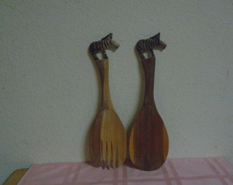 Hand Carved Wooden Salad Spoon and Fork / Painted Zebra's On Top Of Each