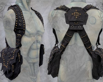 Viking Shoulder Holster Bag Rivets ~ post apocalyptic steampunk neo tribal