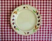 Reserved for L ..... 6 Vintage CERAMIC DINNER PLATES, Yellow/ White with Burgundy Red and Blue Flowers. Gien France, Pattern: Jeannine.