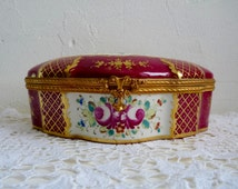 Vintage PORCELAIN DRESSER BOX, Gold Ornate, Fuchsia, Hand painted Trinket Box, Hinged Box with Floral Pattern