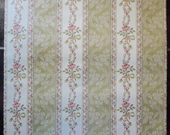 Vintage WALL PAPER by the YARD, French Wallpaper from the 80s. Floral Striped Pattern in Red, Pink and Green on a Cream Background.
