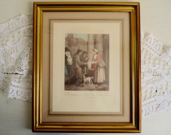 """Vintage PRINT of ENGRAVING in FRAME, """" The Cries of London """" by Francis Wheatley, Plate No 11: """" A New Love Song ... """" Hand Colored Etching."""