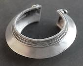 Tribal cuff bracelet - ethnic silver disc bracelet punk boho rocker style