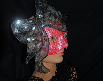 Mask for Halloween Hot Pink with Big Sequined Bow