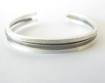 Stackable Cuff Bracelets - Sterling Silver - Pave, Brushed, Oxidized