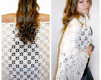 White crocheted shawl