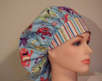 Dont Be Afraid Monster Print Bouffant Style Surgical Hat