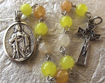Saint Gerard Periwinkle Blue Glass Rosary Tenner