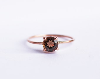 14K Rose Gold Solitaire Ring, Smoky Topaz, Rustic, Wedding Ring, Engagement Ring, Skinny Band
