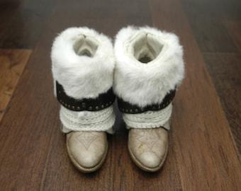 Real Fur Rabbit Cowgirl Cowboy Boho Hippie Belt Winter Boots