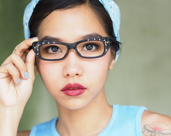 Vintage Eyeglasses Rhinstones Hand Carved 1960's Made In France