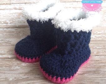 Baby Girl Boots, Crochet Baby Girl Boots, Newborn Boots, Crocheted Booties, Navy Booties with Hot Pink sole, Handmade Booties, Baby Shower