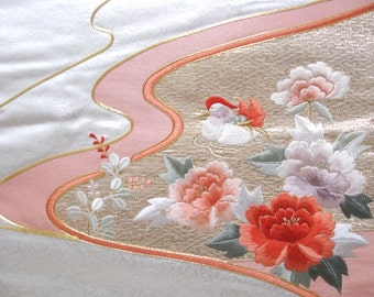 Embroidery Japanese vintage Obi, Table Runner, Silver,  No.3