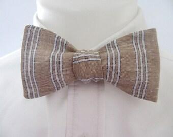 Men's bowtie  ~  brown 100% linen with stripes  -  neoud~ papllion