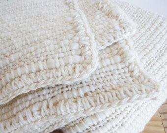 Chunky Knit Blanket, Textured Off White Afghan Throw Blanket hand woven, Crochet edge Not Fringes, Thick and thin yarn, Monochromatic decor