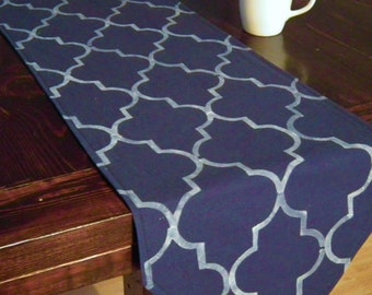 """On clearance ~ flawed 120"""" Moroccan style navy blue table runner, stenciled white quatrefoil pattern, ready to ship"""