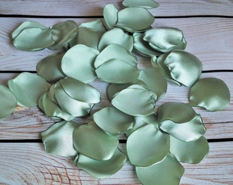 CELERY satin rose petals - sage / pale green artificial flower petals for wedding aisle, anniversary, date night, photo prop, made to order