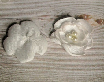 "IVORY satin flowers, sew on or glue on embellishments, DIY weddings, 1"" ivory satin flowers with faux pearl centers, hand made to order"