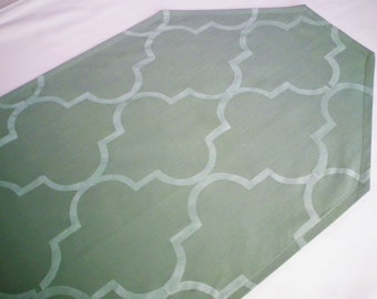 """35"""" SAGE table runner, for end tables or wedding altar, green runner with stenciled Moroccan quatrefoil pattern, ready to ship"""
