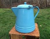 Large Vintage Powder Blue Porcelain Enameled Coffee Pot Farmhouse Decor