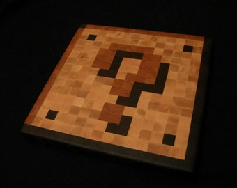 Wood Pixel Art - Cutting Board - 8-Bit Mario Coin Block