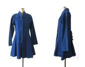 Denim Dress - 70s Blue Jean Mini Dress - Long Sleeve - Button Up Dress - Small Medium