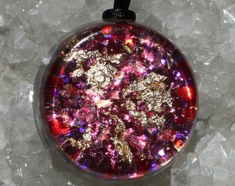 Amethyst and Tigers Eye Orgone Healing Energy Pendant with Gold Flakes