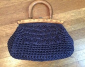 SALE / Beautiful Vintage Navy Blue Basket Purse / 1960's Basket Purse / 1960's Handbag
