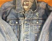 Vintage Lee Denim Jacket with Seattle Mariners Logo / Vintage Lee jean Jacket / Size L