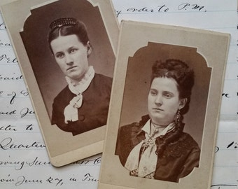 2 Sisters Victorian Cabinet Cards   Photography   1800's Young Women   Girls   Both Wearing Crowns