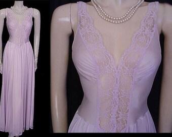 Vintage Rare Color Olga Spandex Lace Nightgown Icy Violet spandex nightgown lavender nightgown olga nightgown designer olga nightgown