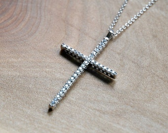 Diamond cross necklace - sterling silver large cz crystal cross pendant - simple cubic zirconia cross - elegant classic jewelry - justified