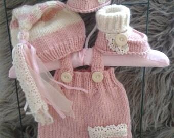 Newborn Girl  Photo Prop set,Baby girl Overalls,Hat and Booties,Baby girl knit overalls,hat and booties.