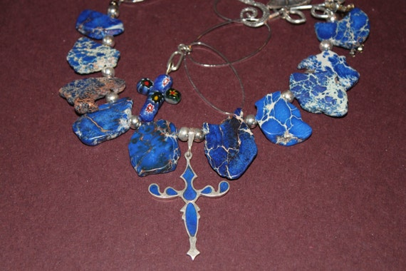 NECKLACE Sterling Silver and Lapis lazuli inlaid Cross assemblage, Repurposed,  Art Deco, Murano Glass, Blue, OOAK, by AnnaGraceDreams
