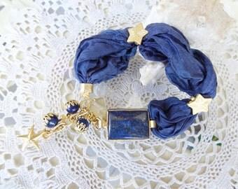 Lapis Lazuli Bracelet,Turkish Silk Bracelet, Gold Bracelet, Stones Jewelry, Star Bracelet, Elegant,Feminine Bracelet, Christmas Gifts