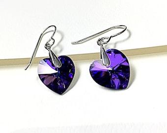 Heart Earrings, Purple Heart Earrings, Purple Earrings, Heart Earrings,  Gift Jewelry