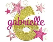 Star Number Six 6th Birthday Applique Machine Embroidery Design sixth INSTANT DOWNLOAD