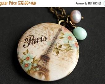 BACK to SCHOOL SALE France Necklace. Paris Pendant. Eiffel Tower Locket. French Necklace. Paris Jewelry. French Jewelry. French Locket. Hand
