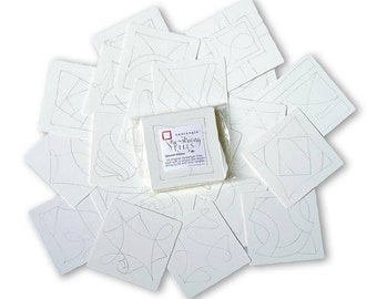 Set of Pre-strung Square White Zentangle Tiles