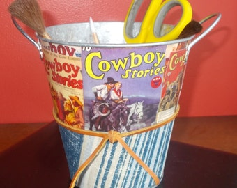 Vintage Pulp Magazine Covers Cowboy Stories pail one of a kind gift
