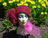 Reserve for Janet,50's, 60's burgandy wool cloche, feather accent, flapper style, Bellini Original, fabulous design, so retro