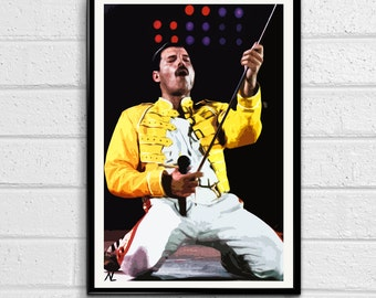 Freddie Mercury Illustration, Rock and Roll Music Icon, Queen, Pop Art, Home Decor, Poster, Print Canvas