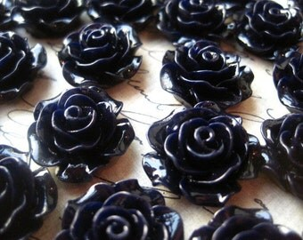 Navy Rose Cabochons, 6 to 20 pcs Midnight Blue Resin Rose Flower, 20mm, Flat Backs, No Holes, Perfect for Jewelry Projects