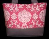 Medium Tote Bag, Pink and Gray Purses, Handmade handbag, Handmade tote bags, shoulder bag