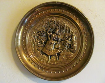 Vintage Metal Art Brass Plaque, Made in England