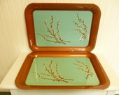 SET Two Large Vintage Metal Serving Trays, Aqua and Brown Copper w/ Lithograph Pussy Willows