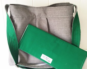 Grey Linen Look Bag with Emerald Green Lining and Strap, Changing Pad included.