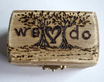 We Do Rustic Wedding Wood Box Tree of Life Brown Bearer Box Monogram Weddings Date Ring Proposal Anniversary Wooden Box