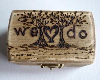 We Do Rustic Wedding Wood Box Tree of Life Brown Bearer Box Monogram Weddings Date Ring Proposal Anniversary Wooden Box