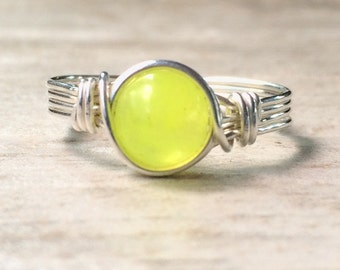 Lemon Jade Ring, Silver Wire Wrapped Jade Ring, Jade Wire Wrapped Ring, Gemstone Ring
